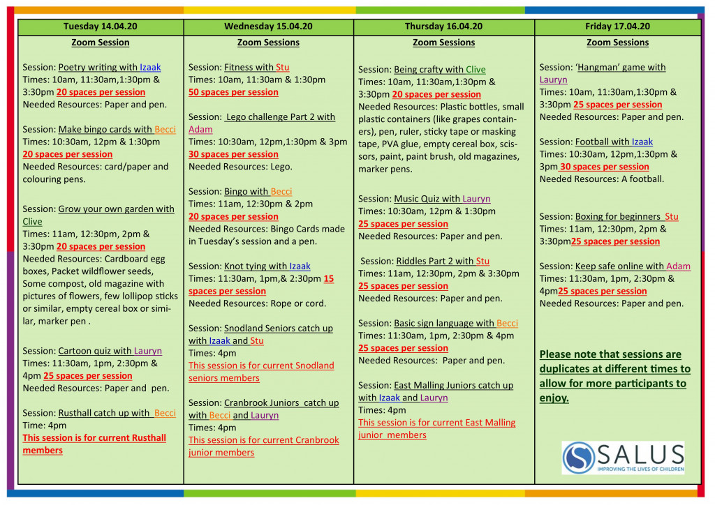 Week 14th April programme