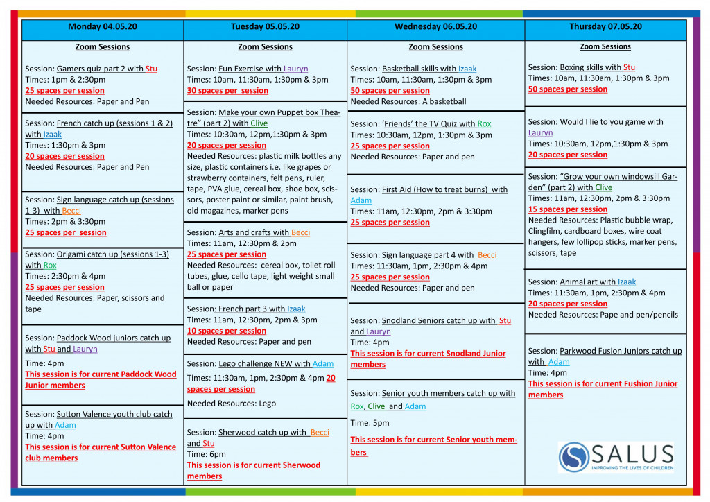 Week 4th May programme