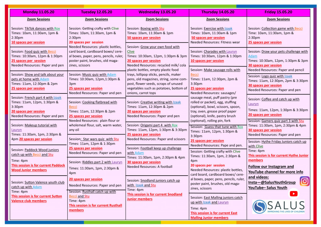 Week 11th May programme