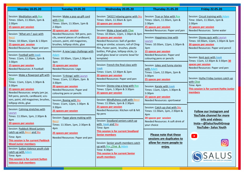 Week 18th May programme