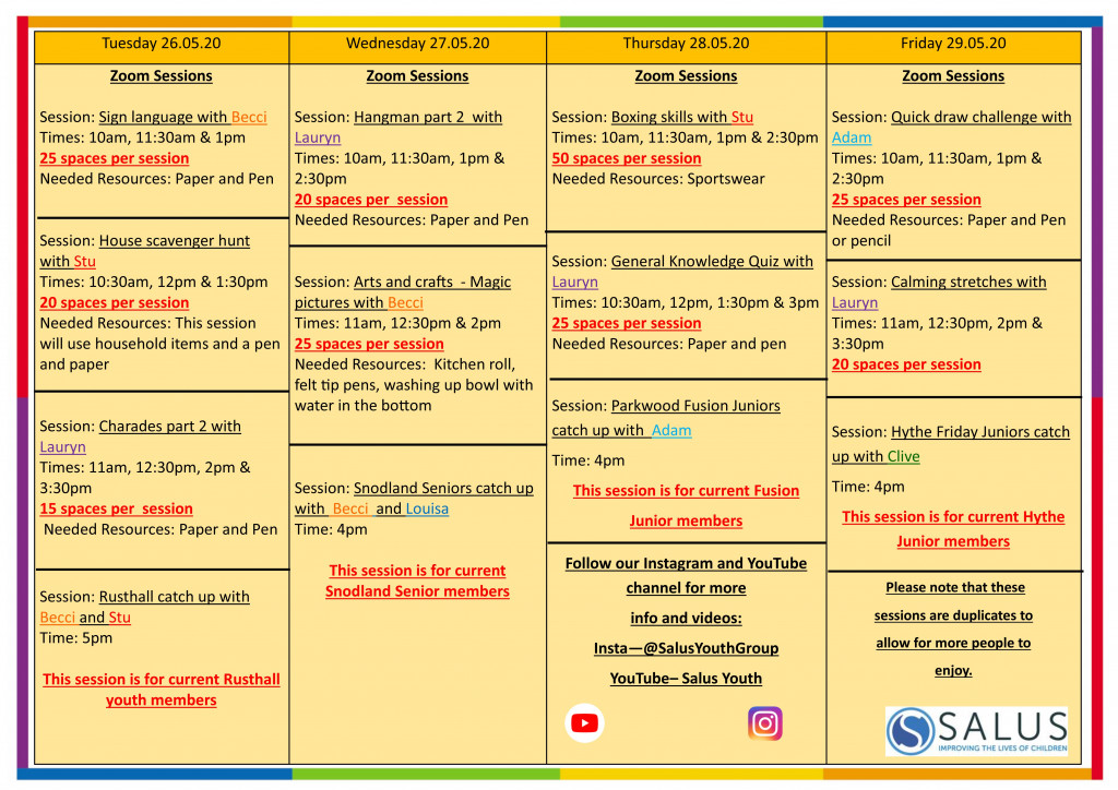 Week 25th May programme