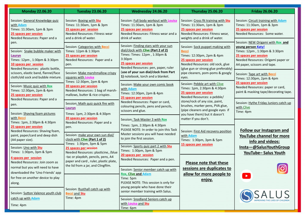 Week 22nd June programme