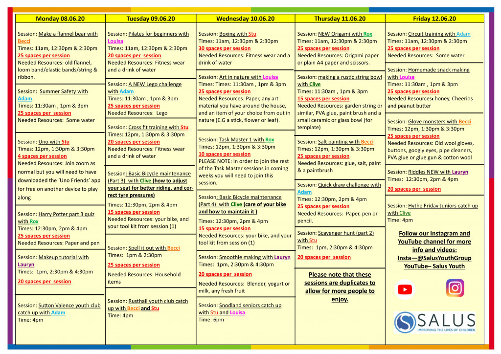 Week 8th June programme